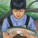 boy with trout_copyrighted nature illustration